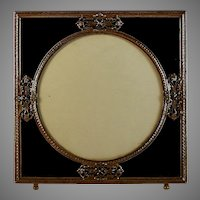 Antique French Ormolu and Black Glass Photo Picture Frame