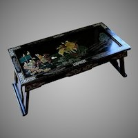 Vintage Tianjin Chinese Carved Inlaid Coromandel Lacquer Folding Table