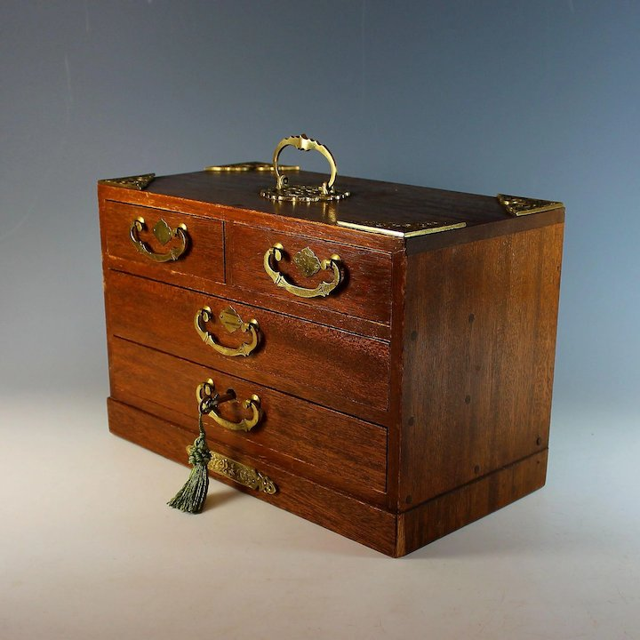 Antique Wooden Jewelry Box With Handle Drawers And Working Key