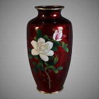Vintage Sato Japanese Red Ox Blood Cloisonne Flower Vase