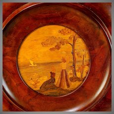 Antique Marquetry Picture/Panel in Round Wood Frame