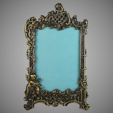 Antique Gilded Bronze Photo Frame with Putti