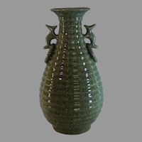 Vintage Chinese GE GU Guan Type Crackle Glazed Vase with Mark