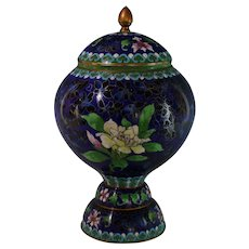 Blue Chinese Cloisonne Covered Urn Birds Lotus Flowers