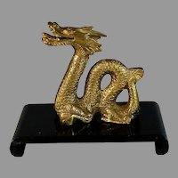 Antique Chinese Gilt Bronze Dragon on Wood Stand
