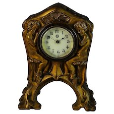 New Haven Art Nouveau Bronze Shelf Clock, Works