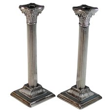 "Vintage 10"" Corinthian Style Reeded Column Candlesticks Silver Plate"