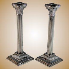 "Vintage 10"" Corinthian Style Reeded Column Candlesticks Silver Plate"