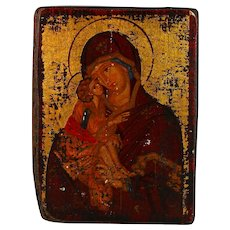 Antique Russian Icon of The Mother of Kazan Kazanskaya Bogomater