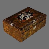 Antique Pietra Dura Inlaid Floral Wood Dresser box