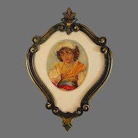 Watercolor Portrait with Antique French Bronze Frame