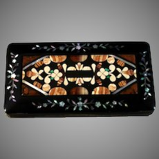 Antique Lacquer Glass/Card Case with Pietra Dura Inlaid Floral Panel *
