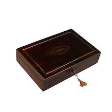 French Antique Inlaid Wood Dresser Box with Key *