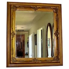Vintage Beveled Dresser Mirror with Sculpted Gold Frame