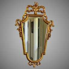 "Antique Florentine Gilt Wood Crested Mirror 32"" by 19"""