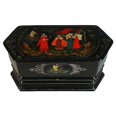 Russian Paper-mache Russian Lacquer Box  Unusual Shape
