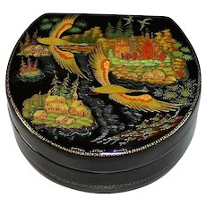 Signed Vintage Russian Paper-mache Lacquer Box