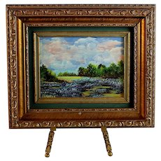 Miniature Landscape Oil Painting Bluebonnets by Shirley Sewell