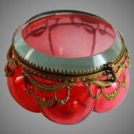 Antique Round Cranberry Glass Box w/ Bronze Mounts, Beveled Top