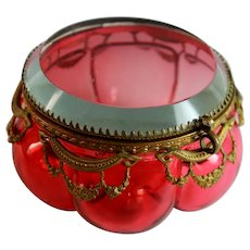 Antique Round Cranberry Glass Box w/ Bronze Mounts, Beveled Top
