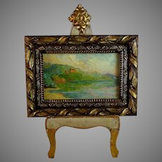 French Miniature Landscape Oil Painting Signed