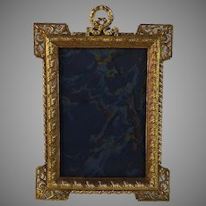 Antique Gilded Brass French Photo Frame with Squared Corners