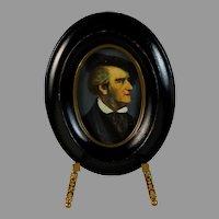 Antique Handpainted Miniature Portrait of Goethe