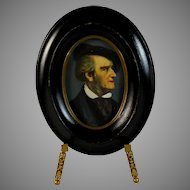 Antique Handpainted Miniature Portrait of Goethe