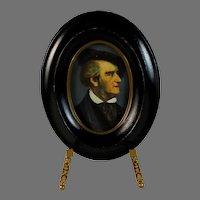 Antique Handpainted Miniature Portrait of Wagner