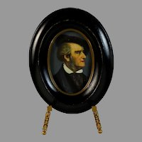 Antique Handpainted Miniature Portrait of Wagner