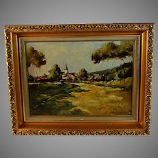 French Oil on Canvas Landscape Painting signed Regnier