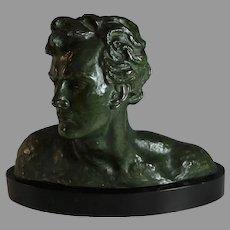 Bronze Head of a Man Sculpture by Alexandre Ouline (1918-1940)