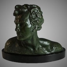 Bronze Head of a Man Sculpture by Alexandre Ouline (1918-1940)