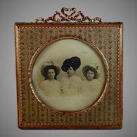 Antique French Napoleon III Bow Top Photo Frame