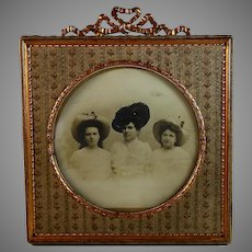 Antique French Napoleon III Bow Top Photo Frame