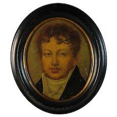 Antique Large Miniature Colotype Portrait of a Gentleman