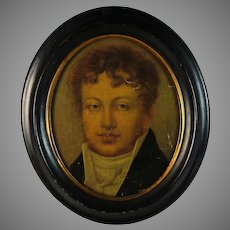 Antique Large Miniature Colotype Portrait of a Gentleman