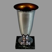 Art Deco French Chrome Trophy on Marble Base No Engraving