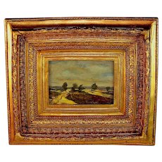 French School Oil Painting of a Landscape Signed