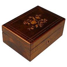 Antique French Charles X Inlaid Wood Dresser Box No Key