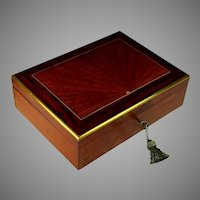 Antique French Rosewood and Inlaid Kingwood Sunburst Box