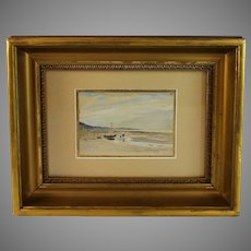 Miniature Watercolor View of a Seascape