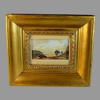 French School Miniature Landscape Watercolor unsigned