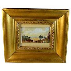 French School Miniature Landscape Watercolor unsigned