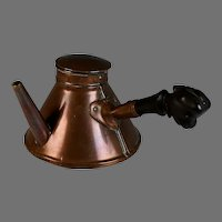 Antique French Copper Chocolate Pot with Carved Wood Handle