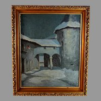 French School Nocturnal Oil Painting signed Detienne
