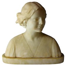 Alabaster Bust of a Young Girl by Umberto Stiaccini Florence