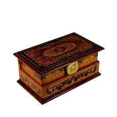 Vintage Marquetry Inlaid Wood Jewelry Box with Drawers