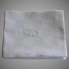 Antique French White Monogrammed Napkins  C F Set of 6 plus 1
