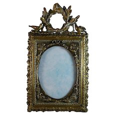 Antique French Bronze Photo Frame with Birds and Bow